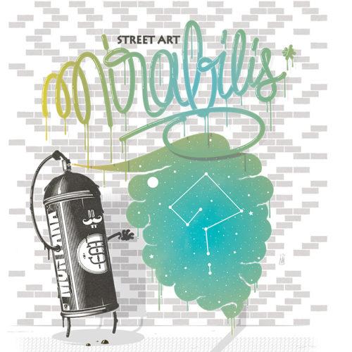 bombe de peinture dessinée en train de graffer avec le texte street art mirabilis